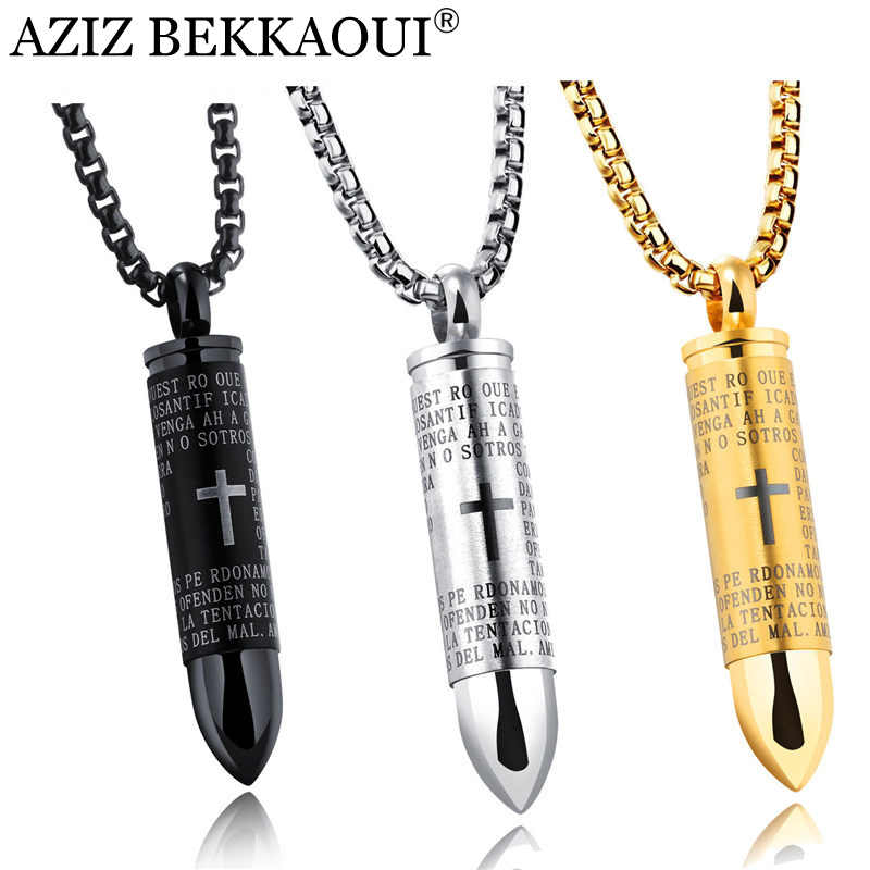 AZIZ BEKKAOUI Stainless Steel Male Bullet Pendant Necklaces For Men Cross Cool Punk Style Bullet Pendants Christian Jewelry Gift