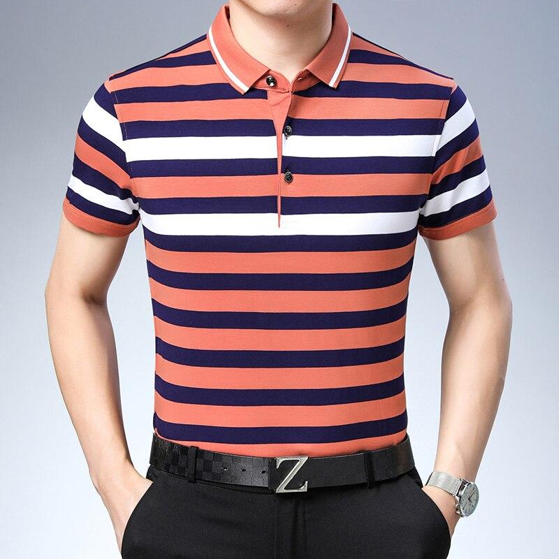 New 2019 Summer Cotton Striped Men   Polo   Casual Shirt Tops Fashion Short Sleeve