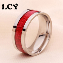 8mm Stainless Steel Fashion Ring Inlaid Red Wood 316L Environmental Protection Vintage Women Mens Jewelry Wedding Band Anillos