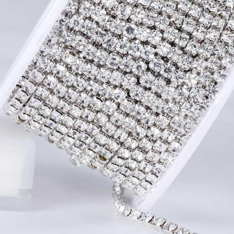 10 jardas/rolo de cristal claro SS6-SS16(2mm-4mm) base de prata copo de cobre strass corrente vestuário costura estilo diy beleza acessórios