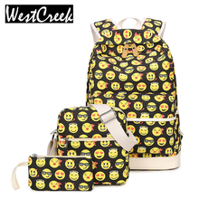 Set Casual Backpack Women 3D Smiley Emoji Face Printing Canvas Backpacks School Backbags for Teenage Girls Bagpack