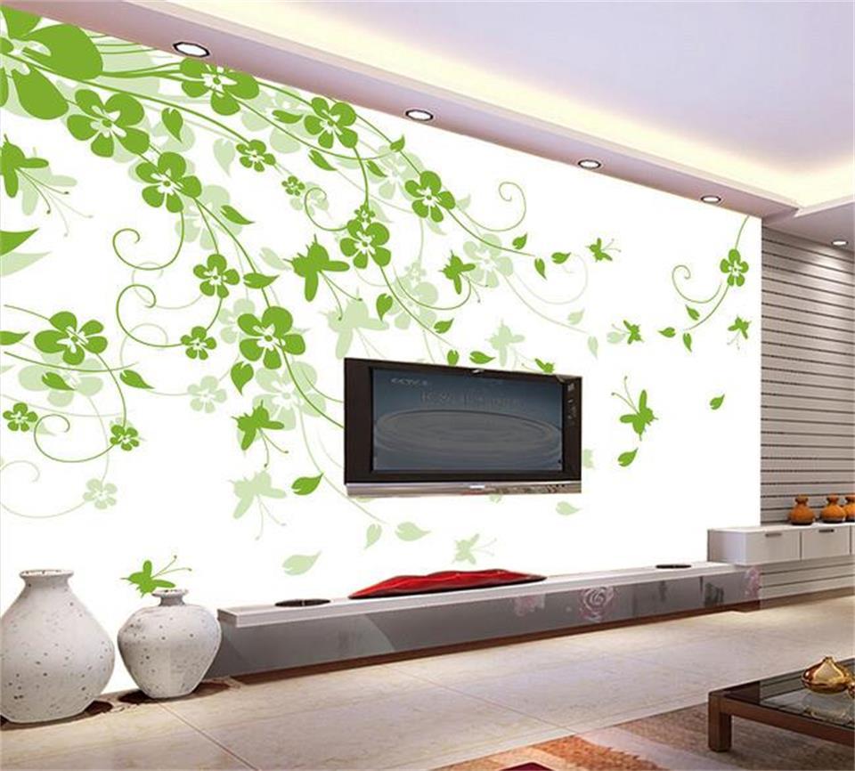 3d Wallpaper Kustom Foto Mural Non Woven Segar Bunga Hijau