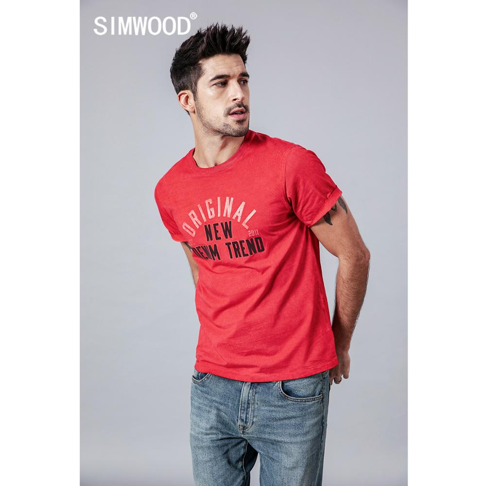 SIMWOOD summer new letter print   t     shirt   men vintage washed   t  -  shirt   100% cotton fashion 2019 top plus size brand clothing 190261