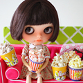 2 PCS 1/6 Scale Miniature Popcorn Pretend Play Doll Food Accessories for Blyth, Pullip Doll
