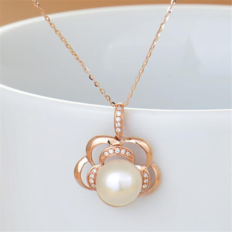 18K Rose Gold 8mm Natural Cultured Freshwater Pearl Rose Flower Pendant White Pearl Necklace Lady Engagement Promise Gift in Pendants from Jewelry Accessories