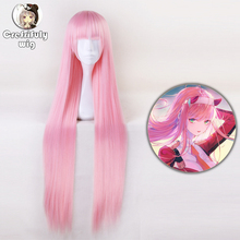 100cm Anime DARLING in the FRANXX Long Pink Hair Cosplay Wig Zero Two Synthetic Straight  Halloween Costume Party Wigs Code 002 стоимость