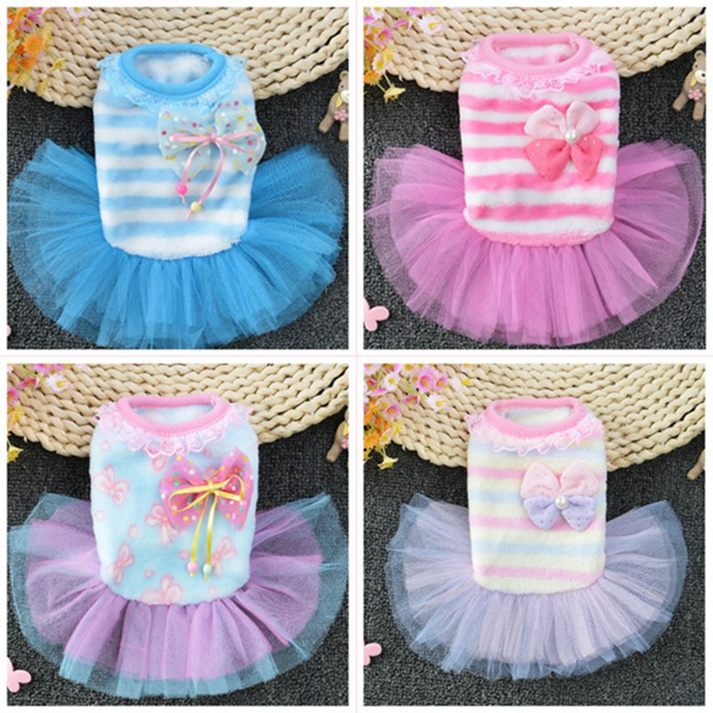 Dog Wedding Dress Pet Dog Sweet Clothes For Small Dog Wedding Dress With Bowknot Skirt Puppy Spring Pet Clothes For Wedding