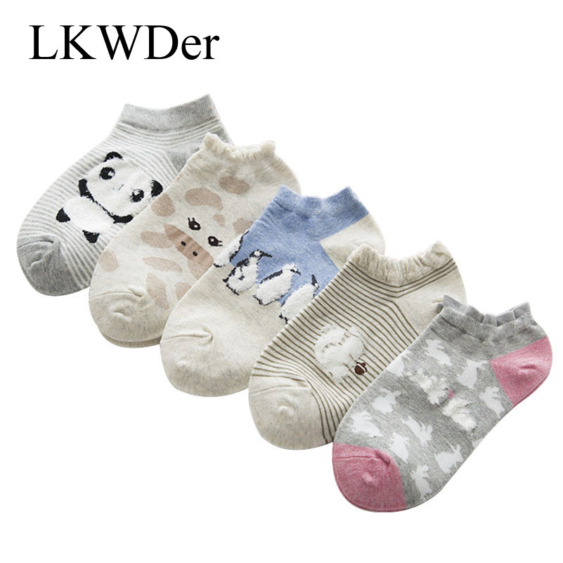 5pairs Cute Animals Cotton   Socks   Meias Female Kawaii Monkey Panda Summer Short   Socks   Slippers Women Casual Soft Funny Boat   Socks