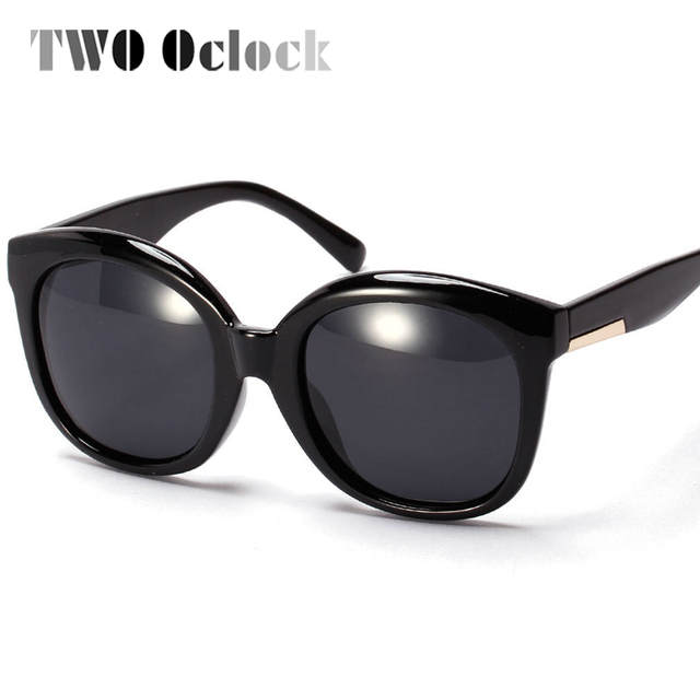 6af5b046388 TWO Oclock Oversized Round Polarized Sunglasses Women Big Black Leopard Goggles  Shades Points Fashion Polaroid Sun Glasses 9259
