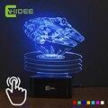 Sensor táctil de 7 Colores Cambiantes Led USB Luz de La Noche de Millenium Falcon1 Además de Lampara Lámpara 3D como Decoración Para El Hogar Dormitorio Luz de Noche