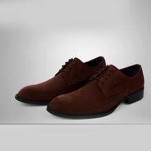 QYFCIOUFU New High Quality Genuine Leather Men Shoes Lace-Up Business Men's Suede Dress Shoes Oxfords Shoes Male Formal Shoes