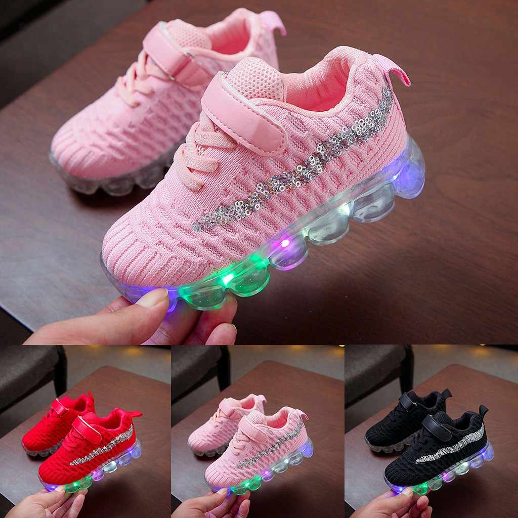 Kids Shoes Baby Girl For Kids Boys Sneakers Bling LED Shoes Luminous Sport Run Casual Pink Children Shoes Tenis Infantil