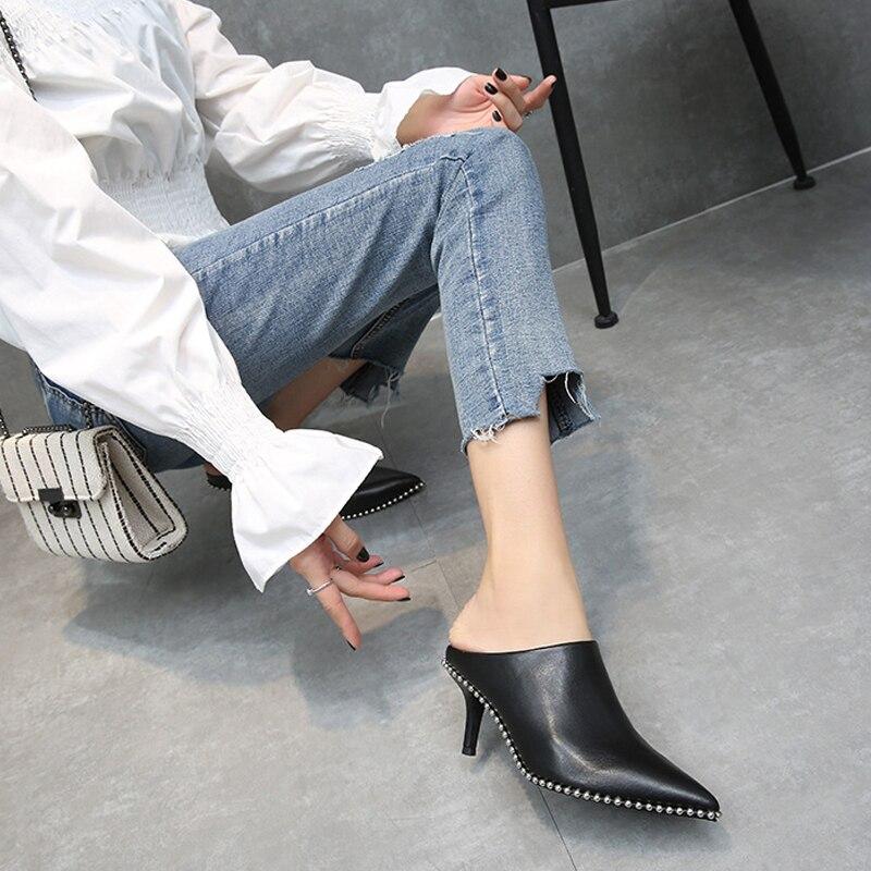 Véritable cuir femmes pantoufles Mules chaussures talons hauts daim Pointe orteil chaussures d'été femme marque femme diapositives grande taille noir DE - 2