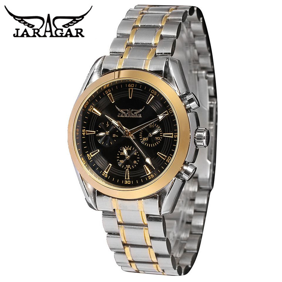 2017 JARAGAR Luxury Watch Mens' Day/Date 6 Hands Mineral ...