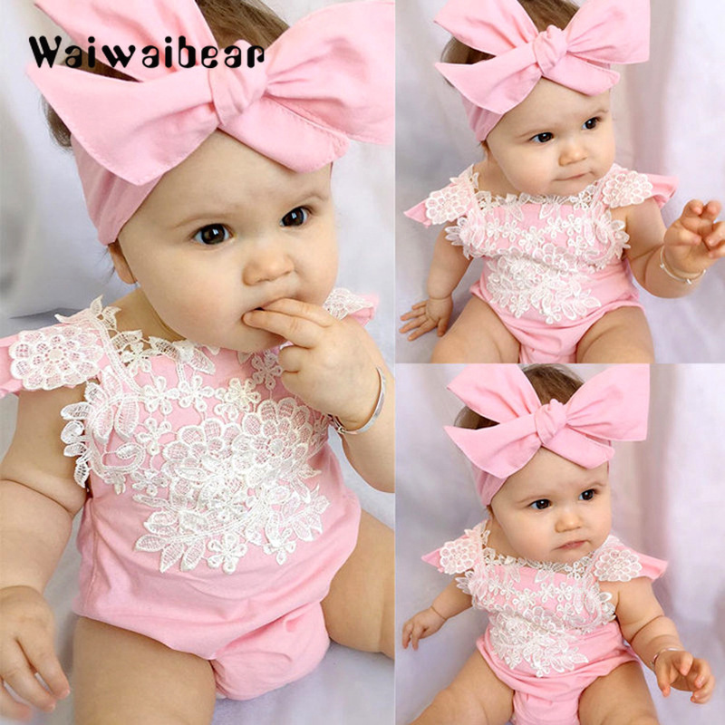New Summer Baby Girls Rompers Sleeveless Pink Lace Floral Jumpsuit Baby Clothes With Headband For Girls  0-18 Months