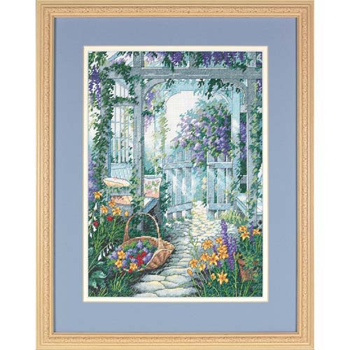 Sincere Gold Collection Counted Cross Stitch Kit Garden Gate Door Yard Flowers Dim 13692 35x45cm 14ct Arts,crafts & Sewing Cross-stitch
