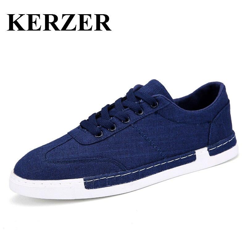Kerzen Store KERZER Skateboard Shoes Men Breathable Canvas Sneakers For Men Walking Sneakers Blue/Gray Skateboarding Shoes Man
