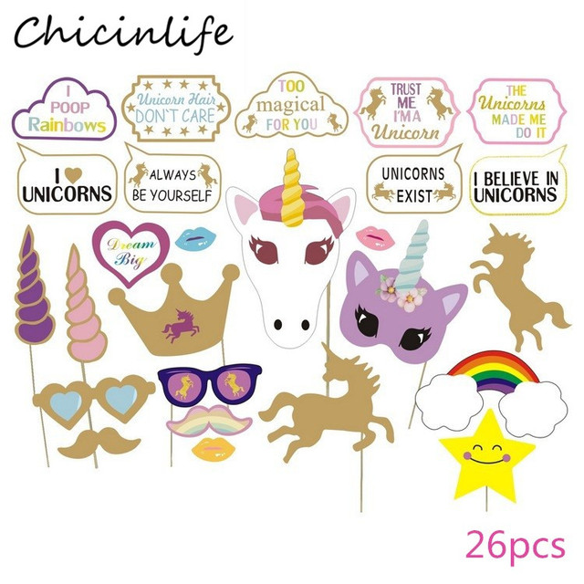 e8691ae40 Aliexpress.com : Buy Chicinlife 1Set Rainbow Unicorn Photo Booth Props  Happy Birthday Party Baby Shower Kids Favors Gift Decoration Supplies from  ...