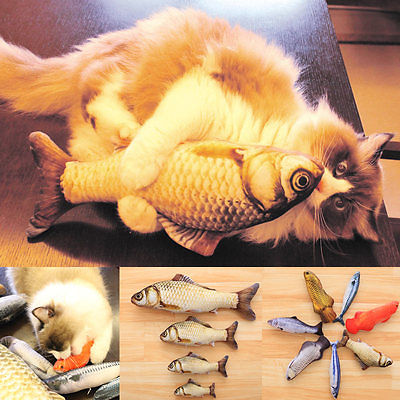 Funny Lifelike Fish Shape Pet Cat Kitten Teaser Cute Simulation Fish Playing Toy Catnip Toy Pillow Doll