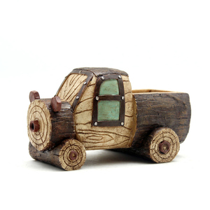 Image 4 - Roogo ジセラミックフラワーポットレトロ木材パイルシリーズモスポットガーデン用品装飾花瓶と多肉植物花ケース樹脂おもちゃの車ギフト