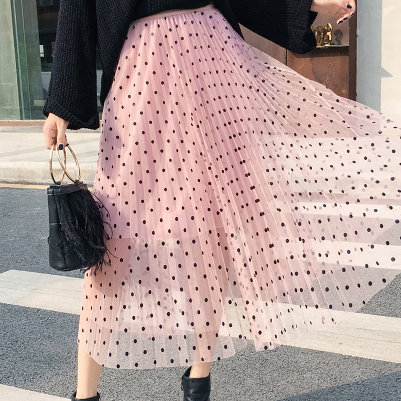 B Elegant Women Skirt High Waist Wave Point Print Mesh Sweet A Line Knee Length Mesh Party Pettiskirt Faldas Mujer Moda 2020