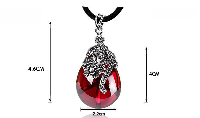 925 silver retro Thai silver pomegranate pendant female water drop shaped Korean character silver silo