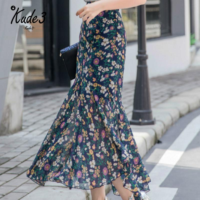 Summer Bohemian Long Chiffon Trumpet Skirt Women Plus Size High Waist Ankle-Length Ruffles Slim Hip Print Mermaid Skirt For Girl