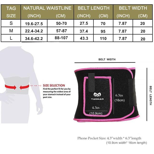 Sport Sweat Belt with Phone Pocket Tummy Stomach Lumbar Sweat Wrap Waist Trimmer Trainer Girdle Slimming Body Shaper Belt 4