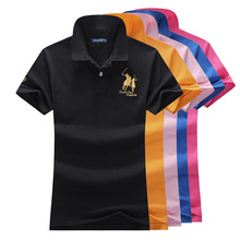 Hot sale 2019 Summer New womens short sleeve polos shirts brand horse cotton casual lapel fashion slim tops