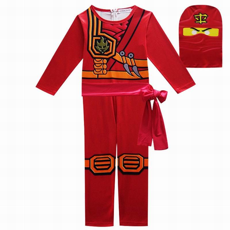 Red Ninjago Cosplay Boys Jumpsuits Legoo Ninja Costumes Halloween Christmas Fancy Party Dress Girls Streetwear Ninja Cosplay