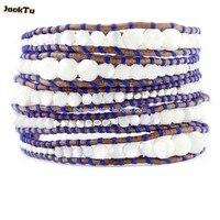 2017 JACK TU parelmoer kralen zilveren nuggets blauwe draad lederen armband