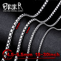 Beier stainless steel necklace twist 4.5mm/5.5mm trendy chain necklace boy man necklace chain Silver Color BN1010