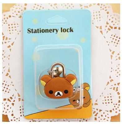 1X милый мультфильм Kawaii животные багажная сумка металлический замок журнал дневник пароль Блокировка файл держатель канцелярские принадлежности - Цвет: brown bear