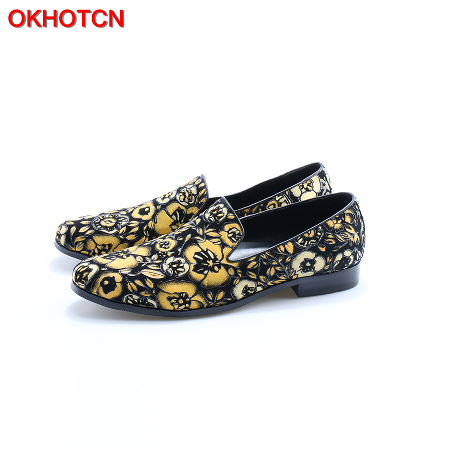 OKHOTCN New Arrival Men Suede Loafers Gold Black Floral Leaf Genuine Leather Driving Shoes Moccasins Slip on Men Casual Shoes high quality washed cotton broken hole snapback men women baseball cap the high street dad hat kanye west mesh cap hip hop hat