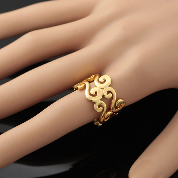 U7 S Letter Rings For Women Men Jewelry Gold Color Trendy