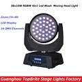 2016 New 36X10W Zoom Moving Beam Lights RGBW 4IN1 Led Moving Head Wash Beam Effect Lights For Stage Professional Dj Equipment