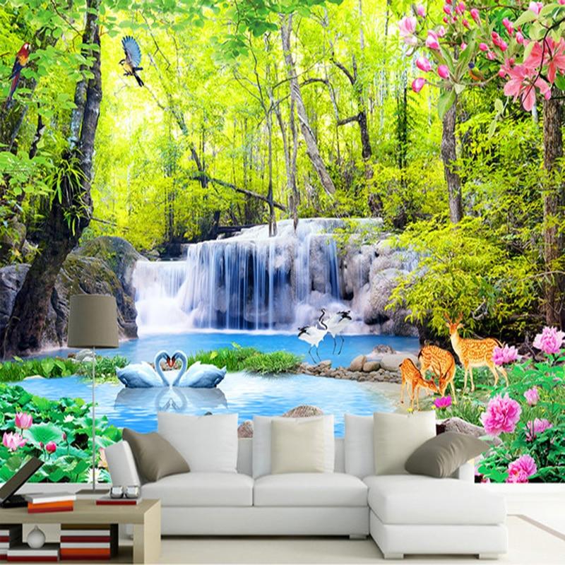 Custom photo wallpaper 3d forest waterfalls nature for 3d nature wallpaper for living room