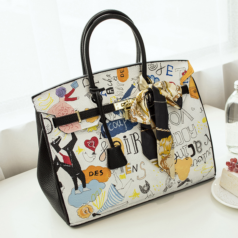 2016European Style High Quality Graffiti bag PU Leather Large capacity platinum bag hand painted America 35CM design with Lock 2016 fashion graffiti printed high quality pu leather handbag platinum package buckle handbag with multicolored print large bag