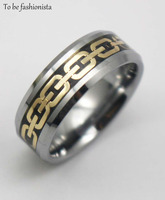 2015 Fashion NewGold Plated Design Tungsten Ring Comfort Fit Wedding Band For Mens Jewelry Size 8