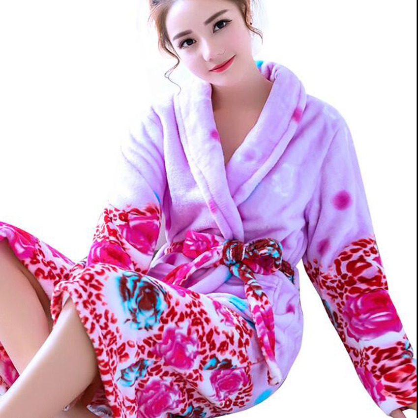 Winter Warm Flannel Bathrobe Women Peignoir Femme Long Sleeve Coral Fleece  Bath Robe Female Sleepwear Dressing ... e2a06d188