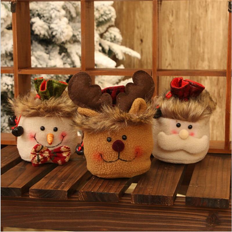 New Cute Xmas Gift Candy Bag Christmas Eve Apple Bag Holder Kids Toy Gift Bags arbol de navidad Decorations Ornament