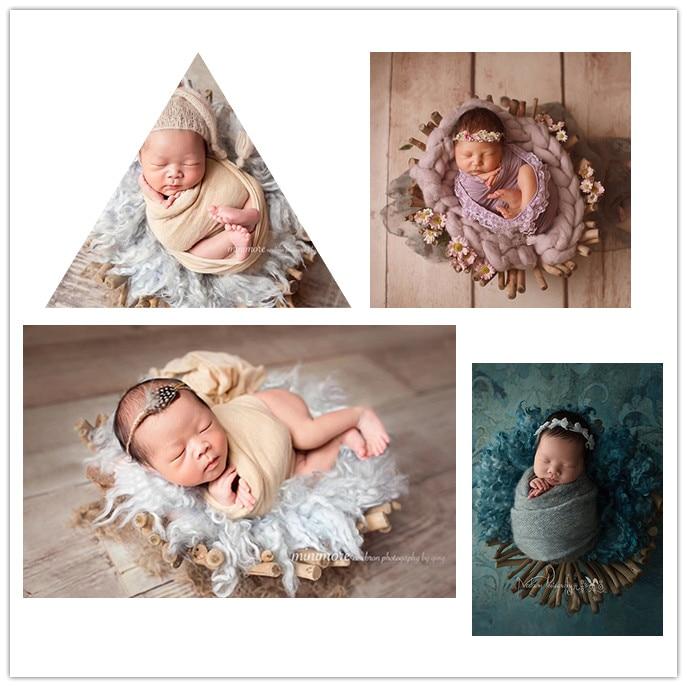 Créatif à la main lit en bois nouveau-né photographie accessoires infantile lisse branche bébé tir accessoires