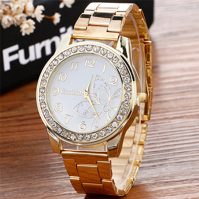 2018 Hot sale Luxury Diamond women Watch Stainless Steel Sport Quartz Wrist Hour Dial Watch relogio feminino Watches Silver gold 1