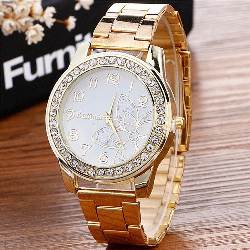 2018 Hot sale Luxury Diamond Watch Stainless Steel Sport Quartz Wrist Hour Dial Watch relogio feminino