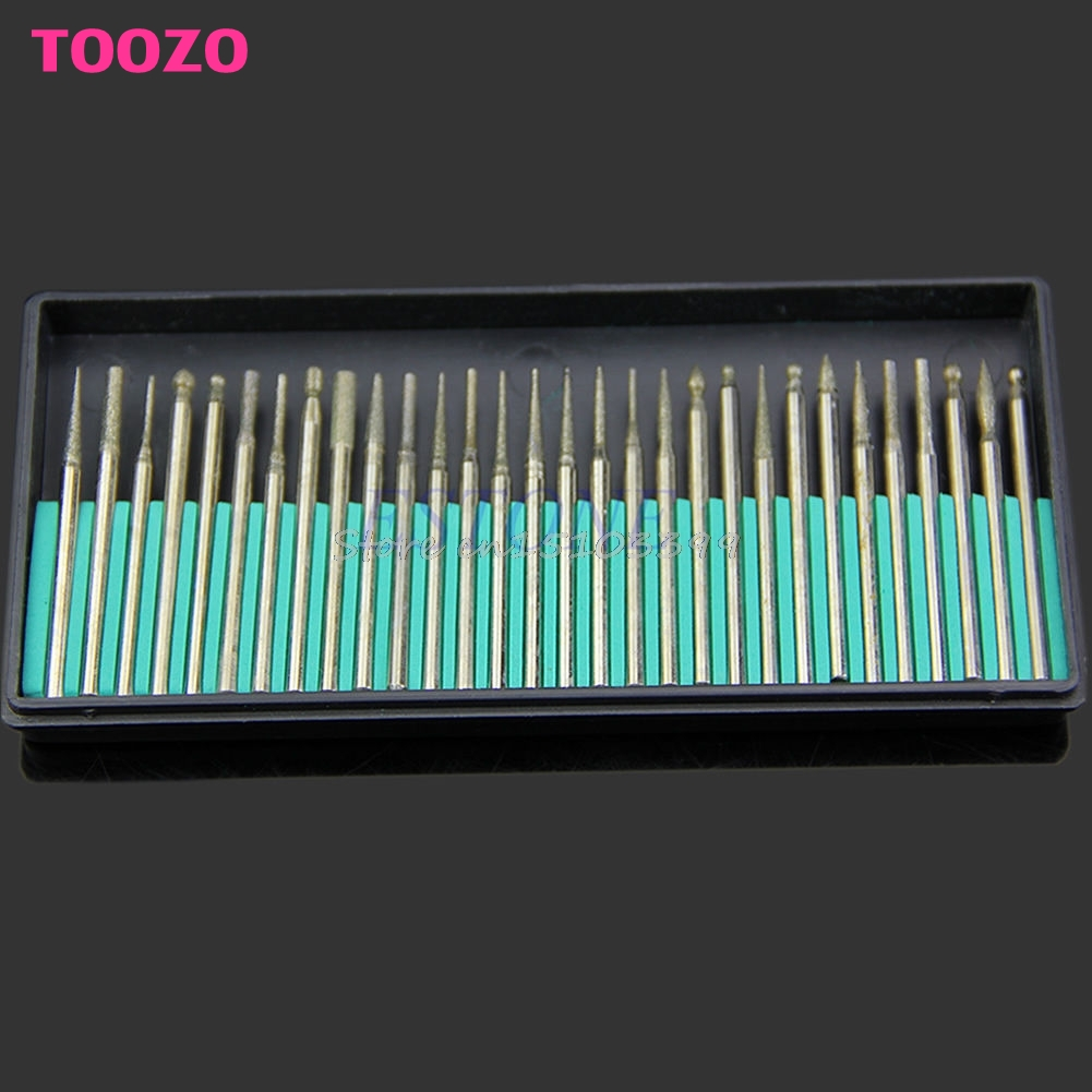 30PCS Diamond Burr Drill Bits Set For Engraving Carving Card Grinding Tool Kit #G205M# Best Quality 5pcs set needle files kit carving jewelry diamond glass stone wood craft tool s018y high quality