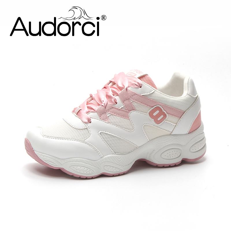 Audorci 2018 Spring Womens Fashion Lighweight Mesh Shoe Woman Casual Sneakers Shoes Chaussures Femmes Size 35-40 3 Colors