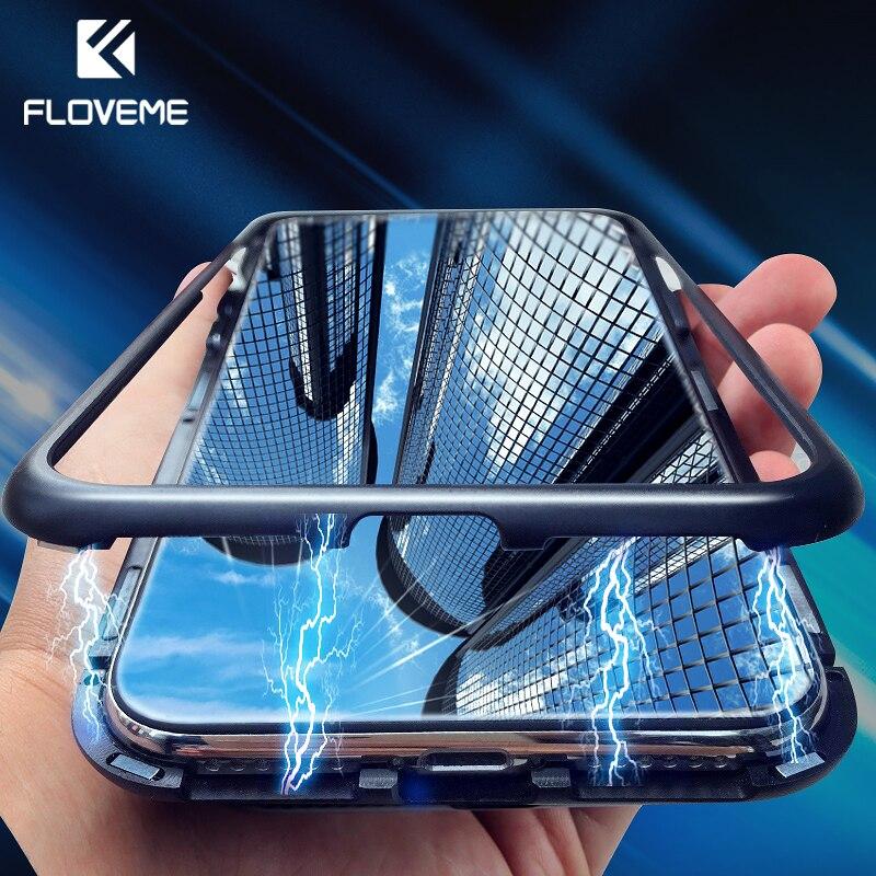 Novedoso pack de adsorción magnética de la caja del teléfono para iPhone X 10 7 Metal imán de templado de vidrio de casos para iPhone 7 Plus 8 XS Max XR cubierta