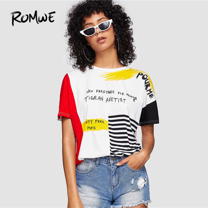 ROMWE Letter Print Striped Brush Tee 2019 Posh Graphic Streetwear Summer Tees Women Chic Round Neck Short Sleeve T Shirt