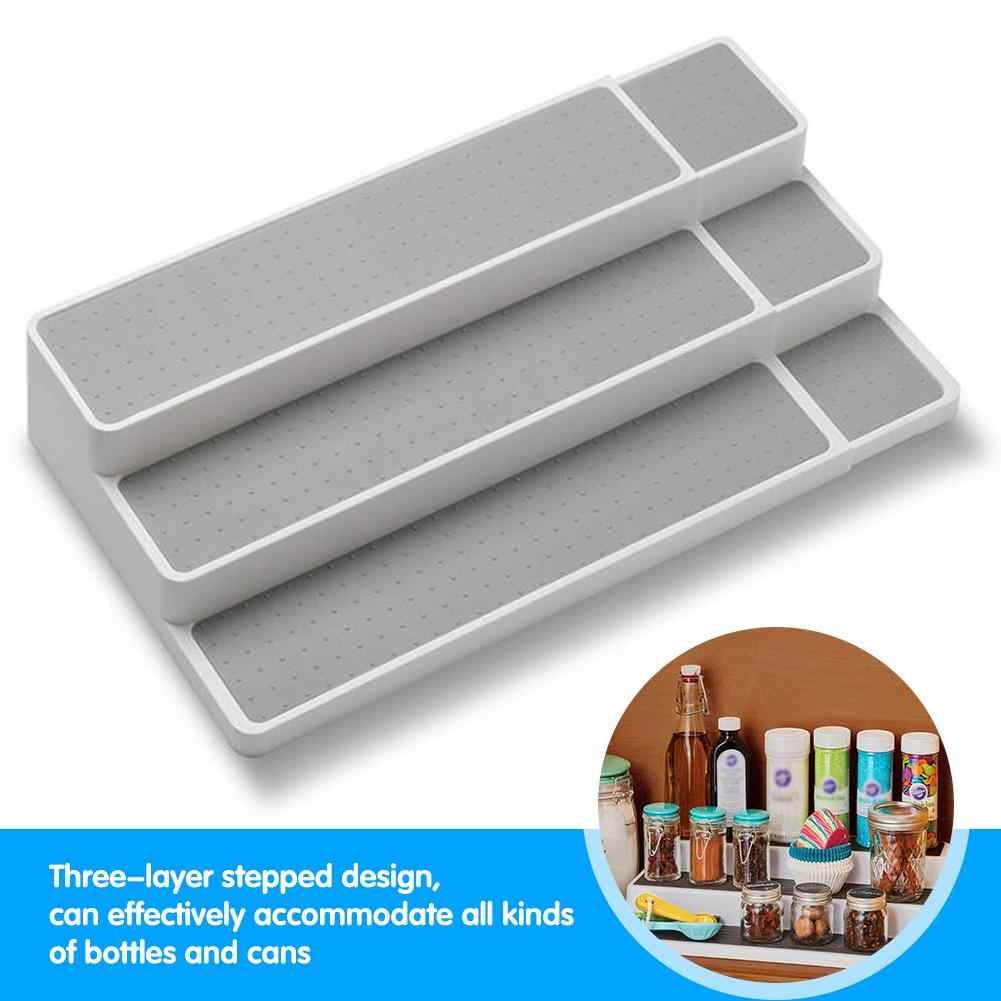 2019 New Horizontal Pull Stretch Three Layer Step Seasoning Storage Rack Household Items Kitchen Rack Expandable Shelf Organizer