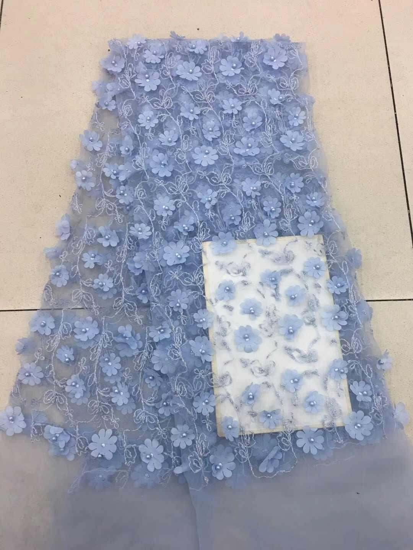 Африканские Бисером кружевной ткани Французский 3D цветок тюль кружевной ткани 2018 высокое качество в нигерийском стиле свадебное платье RF25751